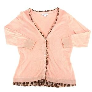 NY&C Feminine Pink & Animal Print Cardigan Sweater